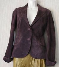 CO-OP BROWN GENUINE LEATHER SUEDE WOMEN JACKET FITTED BLAZER WOMEN SIZE:S