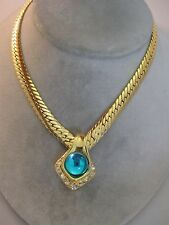 Estate Costume Joan Rivers V Necklace W/ Teal Cabochon Rhinestone Pendant Slide