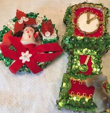 Sequin Vtg Grandfather Clock W/mouse & Santa In Wreath Christmas Ornament 1960's