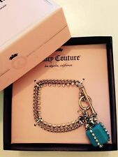 NEW Juicy Couture Silver Crystal Chain Bracelet Blue Present Charm