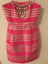 Lilly Pulitzer Women's 6 Pink Striped Strapless Cocktail Dress Gold White Beaded