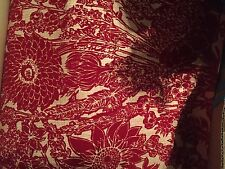 Rare Antique RED Velour Velvet Flocked Wallpaper Damask Paisley Wallpaper