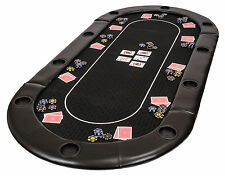 Folding Poker Table Top in Black Speed Cloth with Leather Armrest and Case 200cm