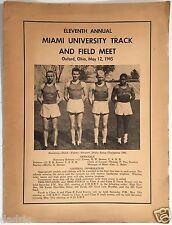 1945 11th ANNNUAL MIAMI (OHIO) UNIVERSITY TRACK AND FIELD MEET PROGRAM - OXFORD