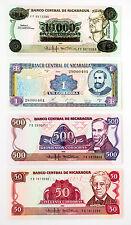 Set of 4 diff. Nicaragua 1980's-90's paper money Au-Unc.