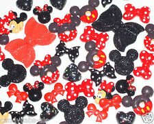CandyCabsUK Minnie Mickey Mouse Mixed Red & Black Spotty Cabochons Decoden Kit