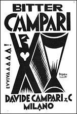 PUBBLICITA' BITTER CAMPARI FORTUNATO  DEPERO ROVERETO FUTURISMO EVVIVA 1927