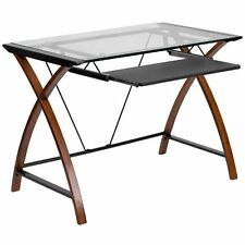 Glass Computer Desk Pull Out Keyboard Slide Tray Home Work Station Top Table New