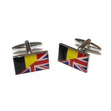 Union Jack UK British England & Belgian Belgium Flag CUFFLINKS Present GIFT BOX