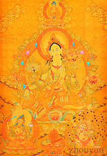 "17"" NATURAL MINERAL COLOR TIBETAN THANGKA: GREEN TRAR MANJUSHRI VAJRAPANI"
