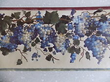 CREAM BLUE PURPLE GRAPES FRUIT LEAF READY PASTED FINE DECOR WALLPAPER BORDER