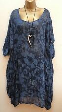 New Italian Lagenlook BLUE Floral thin Cotton Tunic Dress Top 14 16 18 20 22