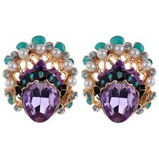Vogue Elegant 9K Yellow Gold Plated Purple Crystal Faux Pearl Stud Eve Earrings