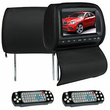 "USA Pair Black 9"" LCD Screen Car Monitors DVD Player Pillow Headrest USB Game FM"