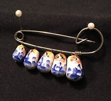 Vintage Hand Painted Russian Matrushka Nesting Dolls Safety Pin Brooch