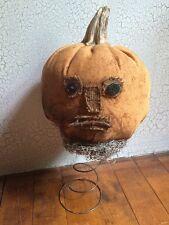 Primitive Jack-O-Lantern Pumpkin on Rusty Spring Halloween Handmade Decoration