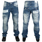 MENS BLUE DENIM RAWCRAFT BEXLEY DESIGNER LOOSE FIT JEANS ALL WAIST AND LEG SIZES