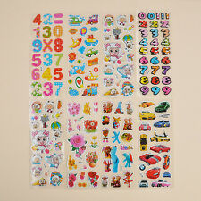 10 Sheets Cartoon Removable Stickers Kids Children 3D Picture Wall Decoration
