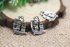 20pcs sail boat charms, silver tone pirate ship charms pendants 20x15mm