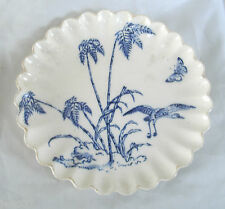 Captivating Antique Blue White Shore Bird & Butterfly Plate Tropical Trees