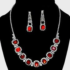 Red Crystal Rhinestone Formal Wedding Pageant Party Necklace Set Emerald Cut