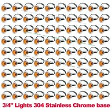 "100X 12V Amber 3/4"" Round Side 3 LED Marker Trailer Bullet Chrome Stainless Lamp"