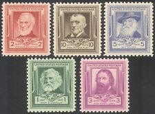 USA 1940 Famous Americans/Poets/Poetry/Writers/People/Books 5v set (n41364)