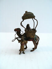 "ANTIQUE VIENNA BRONZE ""MEN w/ CAMEL & TRAVEL CARRIAGE"" FIGURINE, MARKED AUSTRIA"