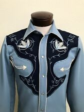 VINTAGE MENS EMBROIDERED H BAR C  CHEYENNE ROCKABILLY WESTERN SHIRT, SIZE S, USA