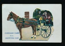 Ireland Co Kildare CURRAGH CAMP Jaunting Car Pocket Novelty c1900/20s? PPC