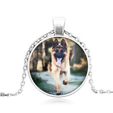 Lovely German Shepherd Cabochon Glass Silver Chain Pendant Pendant Necklace#BB08