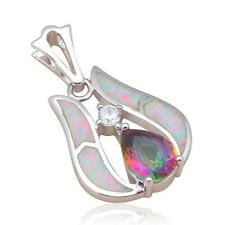 OP568 Rainbow Topaz White Fire Opal Silver Fashion jewelry Necklaces Pendants