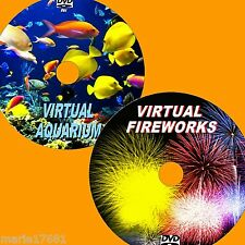 VIRTUAL AQUARIUM AND FIREWORKS 2 DVD VIDEOS FOR PLASMA/ FLATSCREEN TV/PC ETC NEW