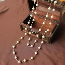 Freshwater Pearl Necklace Long Gold Fine Vintage Wedding Gift Class TZ1
