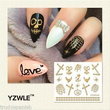 Halloween 3D Nail Art Stickers Decals Gold Skull Bones Pumpkins Chain Gel Polish