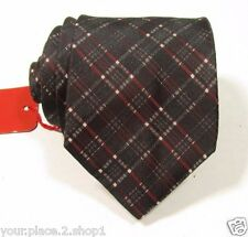 """Hugo Boss Red Label Men's Black Plaid Tie Made in Italy 3"""" 58"""" Long"""
