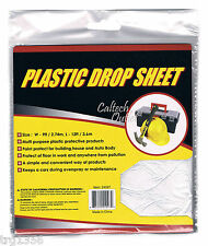 Reusable Plastic Drop Cloth 9' x 12' Cover & Protect Floor, Carpet and Furniture