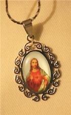 Lovely Swirl Rim Stainless Steel Sacred Heart of Jesus Oval Medal Pendant