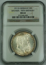 1911 D Germany 3 Mark Bavaria 90th Birthday Silver Coin NGC MS-64