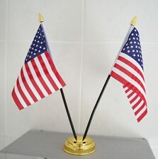 "USA TABLE FLAG X 2 WITH GOLD BASE desktop flags 6"" x 4"" america AMERICAN U.S.A."