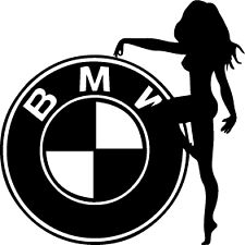 BMW and woman, car sticker, decal.