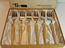 "6 VINTAGE RETRO 23CT GOLD STAINLESS STEEL PASTRY CAKE FORKS 6"" - WIRTHS BESTECKE"