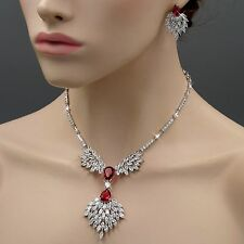 18K White Gold Plated Ruby Zirconia CZ Necklace Earrings Wedding Jewelry Set 86