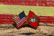 United States Marine Corps Crossed Flag Tie, Hat, Lapel Pin - US USMC Old Glory