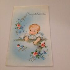 Vintage Greeting Card Baby Congrats Cute Girl Flowers
