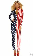 Sexy American Patriotic Flag Stars and Stripes Zipfront Jumpsuit Catsuit Costum