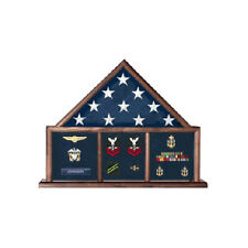 Military Flag and Medal Display Case, Shadow Box By Veterans