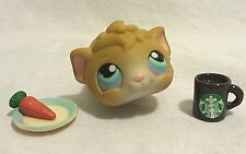 Littlest Pet Shop Guinea Pig #157 Tan  w/ Lavender Blue Eyes and Starbucks Mug