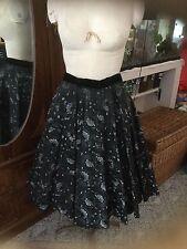 Vintage 50s Black Flocked Rockbilly Full Circle Skirt by Smart Set Sportwear M