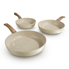 BRATmaxx Keramik Pfannen geschmiedet 3tlg Set in Creme mit Griff in Holzoptik